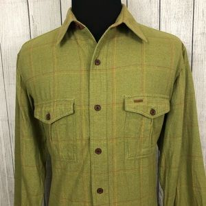 Orvis L Green Suede Elbow Button-Front Shirt